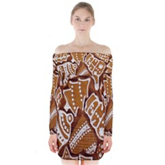 Biscuit Brown Christmas Cookie Long Sleeve Off Shoulder Dress