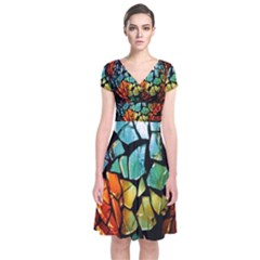 Candlestick Candle Glass Decoration Short Sleeve Front Wrap Dress