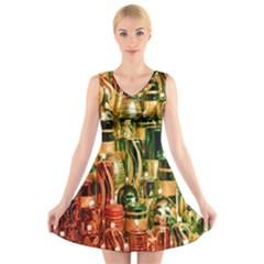 Candles Christmas Market Colors V-Neck Sleeveless Skater Dress