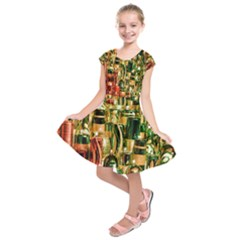Candles Christmas Market Colors Kids  Short Sleeve Dress