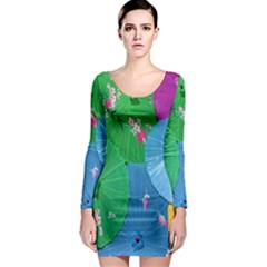 Chinese Umbrellas Screens Colorful Long Sleeve Bodycon Dress