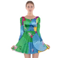 Chinese Umbrellas Screens Colorful Long Sleeve Skater Dress