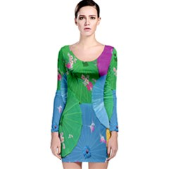 Chinese Umbrellas Screens Colorful Long Sleeve Velvet Bodycon Dress