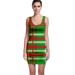 Christmas Colors Red Green White Sleeveless Bodycon Dress