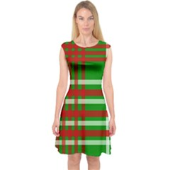 Christmas Colors Red Green White Capsleeve Midi Dress