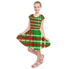 Christmas Colors Red Green White Kids  Short Sleeve Dress