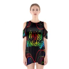 Christmas Greeting Desire Cutout Shoulder Dress