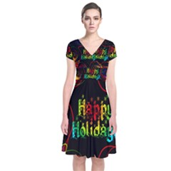 Christmas Greeting Desire Short Sleeve Front Wrap Dress
