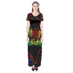 Christmas Greeting Desire Short Sleeve Maxi Dress