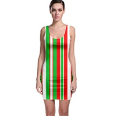 Christmas Holiday Stripes Red Sleeveless Bodycon Dress