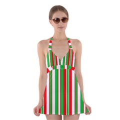 Christmas Holiday Stripes Red Halter Swimsuit Dress