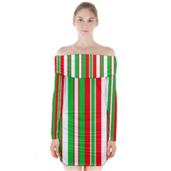 Christmas Holiday Stripes Red Long Sleeve Off Shoulder Dress