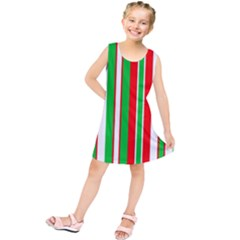 Christmas Holiday Stripes Red Kids  Tunic Dress