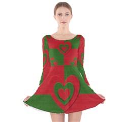 Christmas Fabric Hearts Love Red Long Sleeve Velvet Skater Dress