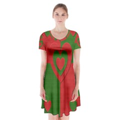 Christmas Fabric Hearts Love Red Short Sleeve V-neck Flare Dress