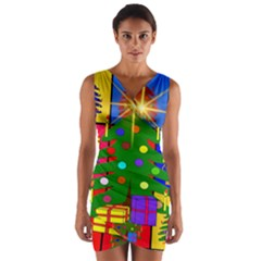 Christmas Ornaments Advent Ball Wrap Front Bodycon Dress