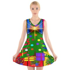 Christmas Ornaments Advent Ball V-Neck Sleeveless Skater Dress