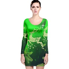 Christmas Reindeer Happy Decoration Long Sleeve Velvet Bodycon Dress