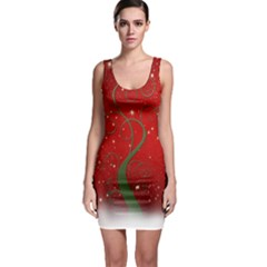 Christmas Modern Day Snow Star Red Sleeveless Bodycon Dress