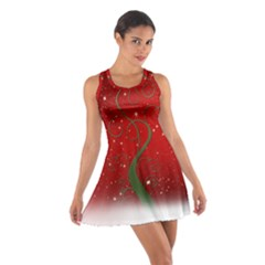 Christmas Modern Day Snow Star Red Cotton Racerback Dress