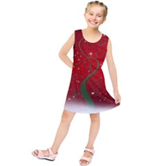 Christmas Modern Day Snow Star Red Kids  Tunic Dress