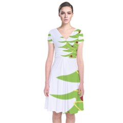 Christmas Tree Christmas  Short Sleeve Front Wrap Dress
