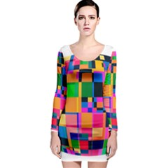 Color Focusing Screen Vault Arched Long Sleeve Bodycon Dress