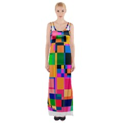 Color Focusing Screen Vault Arched Maxi Thigh Split Dress