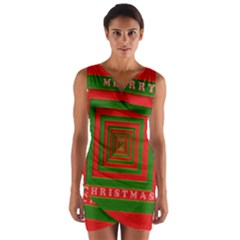 Fabric 3d Merry Christmas Wrap Front Bodycon Dress