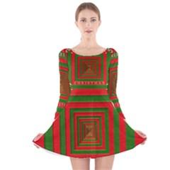Fabric 3d Merry Christmas Long Sleeve Velvet Skater Dress
