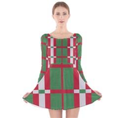Fabric Green Grey Red Pattern Long Sleeve Velvet Skater Dress
