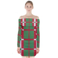 Fabric Green Grey Red Pattern Long Sleeve Off Shoulder Dress