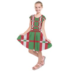 Fabric Green Grey Red Pattern Kids  Short Sleeve Dress