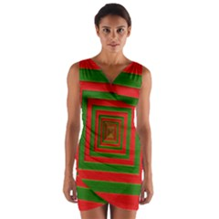Fabric Texture 3d Geometric Vortex Wrap Front Bodycon Dress