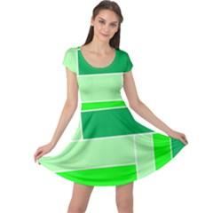 Green Shades Geometric Quad Cap Sleeve Dresses