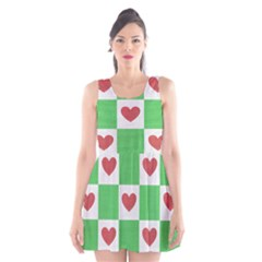 Fabric Texture Hearts Checkerboard Scoop Neck Skater Dress