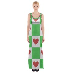 Fabric Texture Hearts Checkerboard Maxi Thigh Split Dress