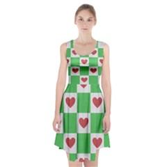 Fabric Texture Hearts Checkerboard Racerback Midi Dress