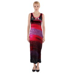 Glass Ball Decorated Beautiful Red Fitted Maxi Dress