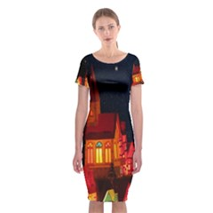 Hristmas Market Christmas Light Classic Short Sleeve Midi Dress