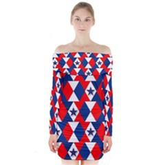 Patriotic Red White Blue 3d Stars Long Sleeve Off Shoulder Dress