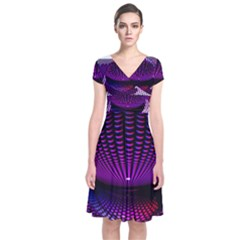 Glass Ball Light Ball Photo Effect Short Sleeve Front Wrap Dress