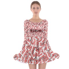 Merry Christmas Xmas Pattern Long Sleeve Skater Dress