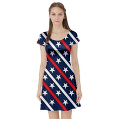 Patriotic Red White Blue Stars  Short Sleeve Skater Dress