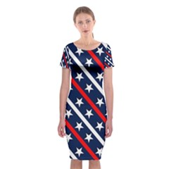 Patriotic Red White Blue Stars  Classic Short Sleeve Midi Dress