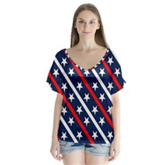 Patriotic Red White Blue Stars  Flutter Sleeve Top