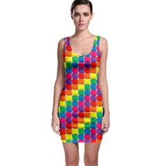 Rainbow 3d Cubes Red Orange Sleeveless Bodycon Dress