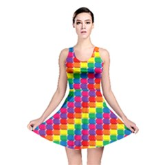 Rainbow 3d Cubes Red Orange Reversible Skater Dress