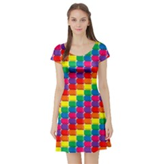 Rainbow 3d Cubes Red Orange Short Sleeve Skater Dress