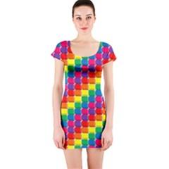Rainbow 3d Cubes Red Orange Short Sleeve Bodycon Dress